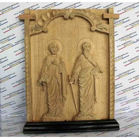 Iconita sculptata lemn Petru si Pavel