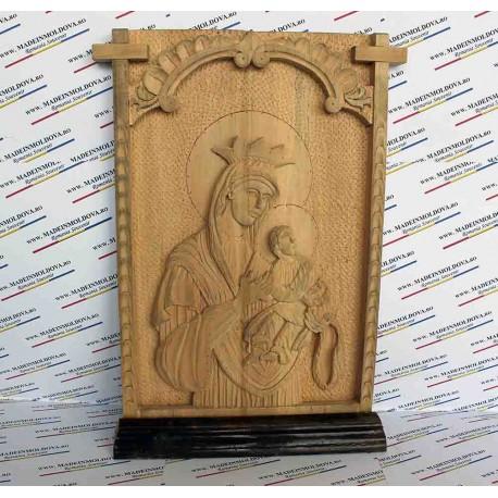 Icoana Maica Domnului sculptata in lemn