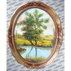 Tablou pictat oval - Salcia