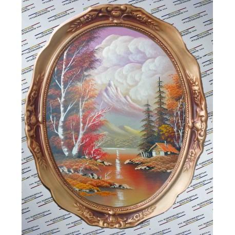 La poalele muntelui toamna - Tablou oval pictat
