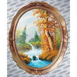 Peisaj cascada  tablou oval